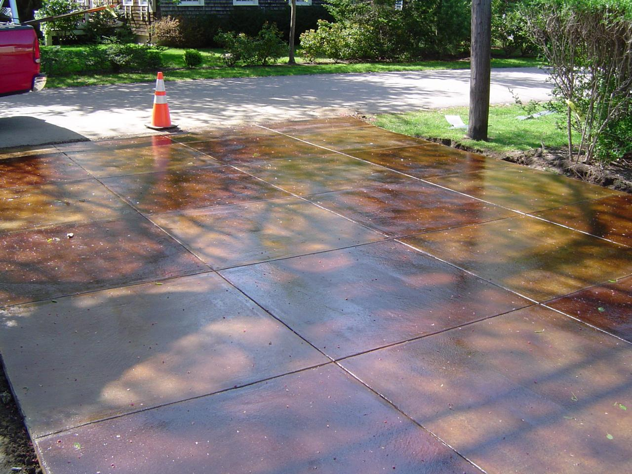 stained stamped concrete patio. Concrete Contractors RI. \ Stained Stamped Patio